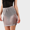 Metallic high waisted crochet skirt blush -shein(sheinside)