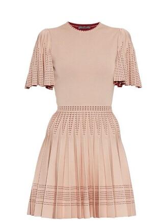 dress mini dress mini pleated knit pink