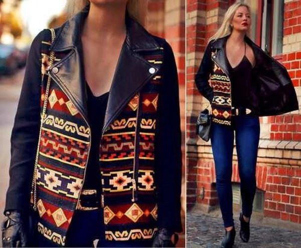 bag tribal pattern jacket leather jacket tribal leather jacket crossbody bag