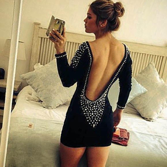pearls backless dress