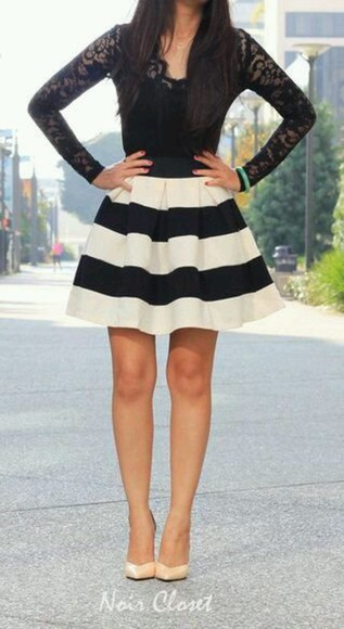 black skirt hipster casual lace striped skirt