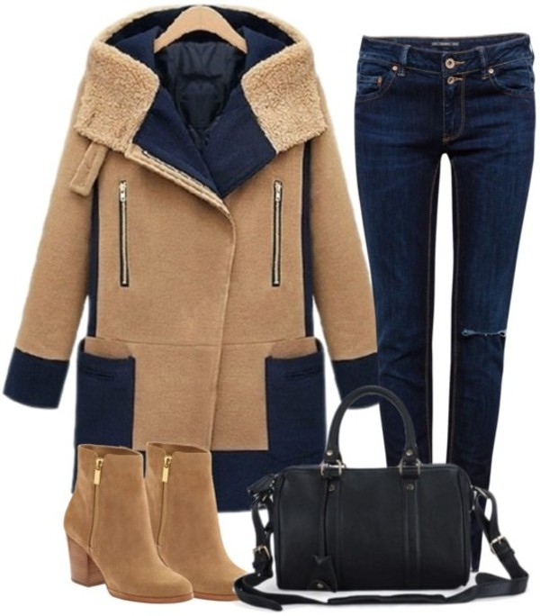 shoes boots winter boots short boots jeans coat warm coat bag black bag outfit collection collage fashion student back to school clothes girl