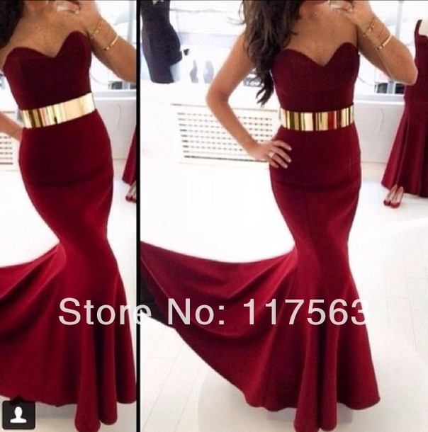 2014 Bordeaux Red Color Sexy Sweetheart Metal Gold Waist Belt Long Evening Dress Women Gown Free Shipping WL200-in Evening Dresses from Apparel & Accessories on Aliexpress.com