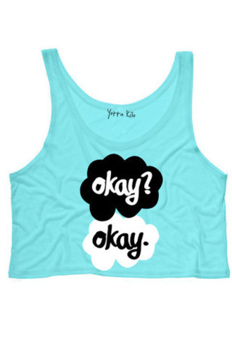 the fault in our stars blue quote on it john green tank top