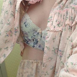 underwear bra floral cute pale pastel