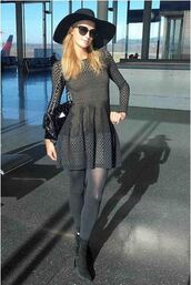 dress,all black everything,paris hilton,boots,hat,long sleeve dress,mesh dress,mesh,eyelet dress,eyelet detail