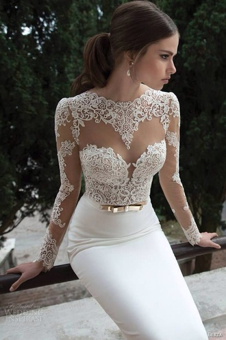 long sleeves long sleeve dress white white dress sweetheart dress wedding dress lace wedding dress beautiful gold belt