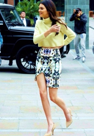 sweater yellow turtleneck kendall jenner jumper cropped sweater sweater crop top celebrity celebrity style