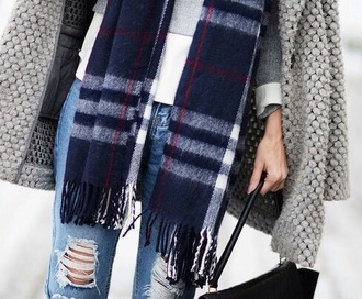 scarf tartan scarf jeans coat blue white red grey black winter outfits fall outfits