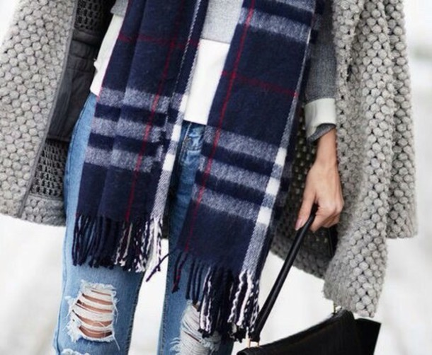 scarf tartan scarf stripes oversized overtrend jeans coat blue white red grey black winter outfits fall outfits