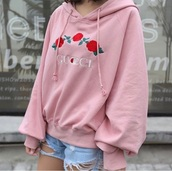 sweater,pink,embroidered,cute,fashion,style,roses,girly,long sleeves