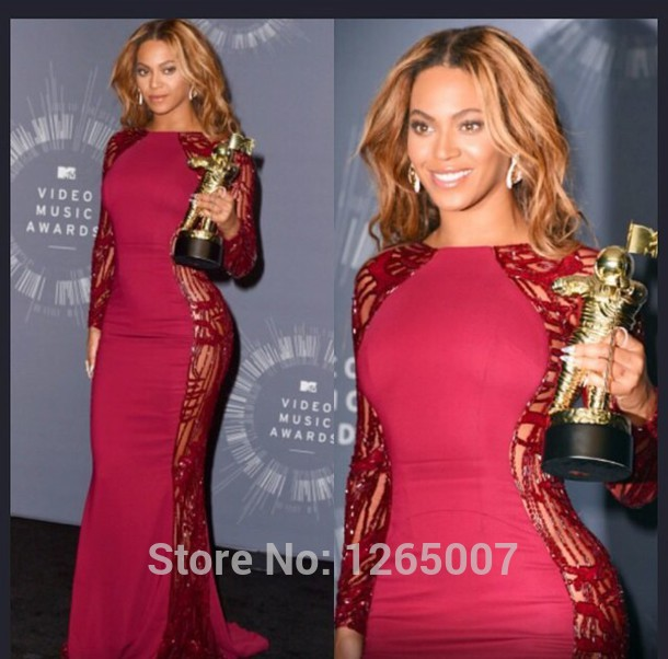 Aliexpress.com : Buy Beyonce In Zuhair Murad Scoop Neck Long Sleeves Couture Plum Mermaid Fashion Long Celebrity Dress Special Occasion Dress from Reliable dress up dolls for girls suppliers on SFBridal