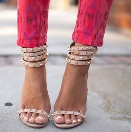 Appealing suede rivets ankle strap dress sandals