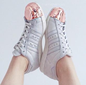 shoes adidas superstar adidas superstars rose gold beige superstar with pink metal toe metallic