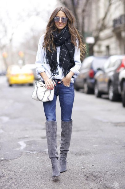 something navy blogger scarf suede boots grey checkered skinny jeans