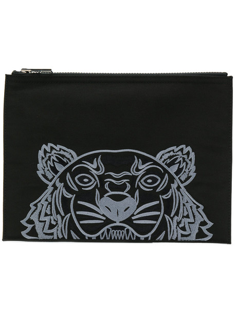 Kenzo women tiger clutch cotton black bag
