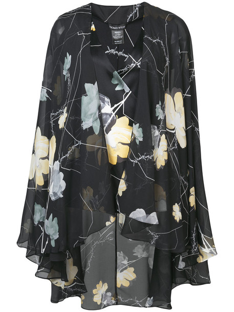 Thomas Wylde blouse women spandex floral print black silk top