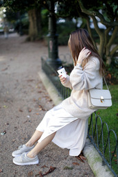 b a r t a b a c,blogger,sweater,dress,shoes,jacket,bag,sunglasses,shoulder bag,grey bag,midi dress,satin dress,sneakers
