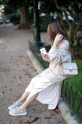 b a r t a b a c blogger sweater dress shoes jacket bag sunglasses shoulder bag grey bag midi dress satin dress sneakers