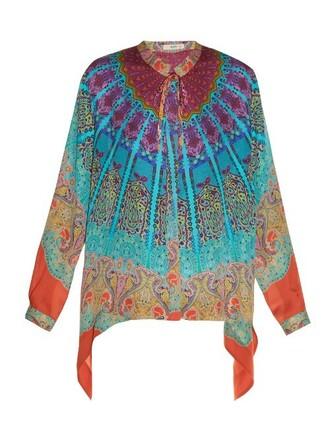 blouse print silk paisley blue top