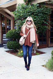 bows&sequins,blogger,sweater,jeans,shoes,bag,scarf,sunglasses,fall outfits,crossbody bag,nude bag