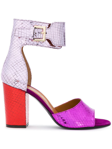 heel chunky heel snake women snake skin sandals leather purple pink shoes