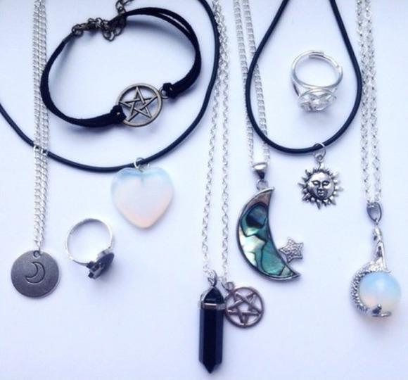 moon jewels stars necklace heart crystal ring bracelets