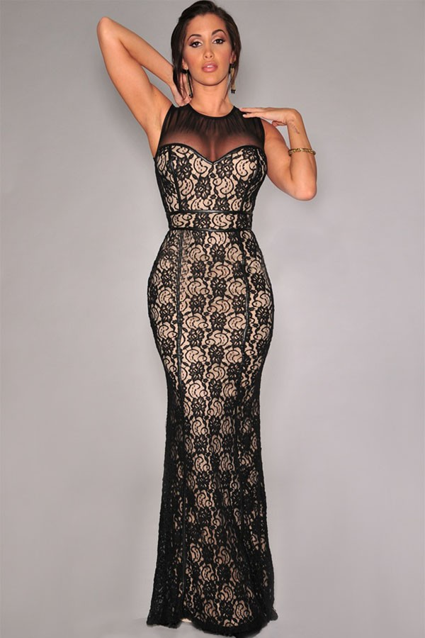 Dior Nude Illusion Black Lace Gown