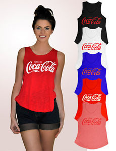 Womens Girls Sleeveless Coca Cola Print Vest Tshirt Tee Slub Tank Top Shirt 8-12 | eBay