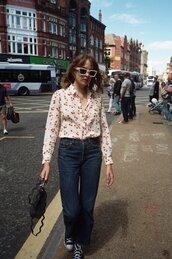 shirt,tumblr,white shirt,denim,jeans,blue jeans,sneakers,bag,converse,black converse,sunglasses,shoes