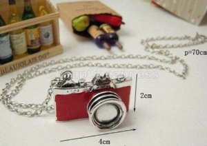Amazon.com : fashion retro style mini red/black camera photographer pendant necklace chain : sports & outdoors