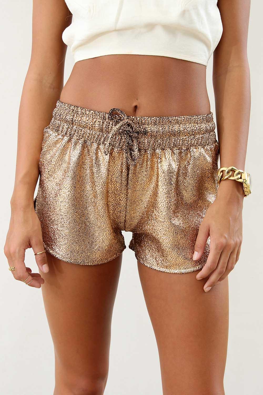 Brown Shorts - Bronze Metallic Mini Shorts with   UsTrendy