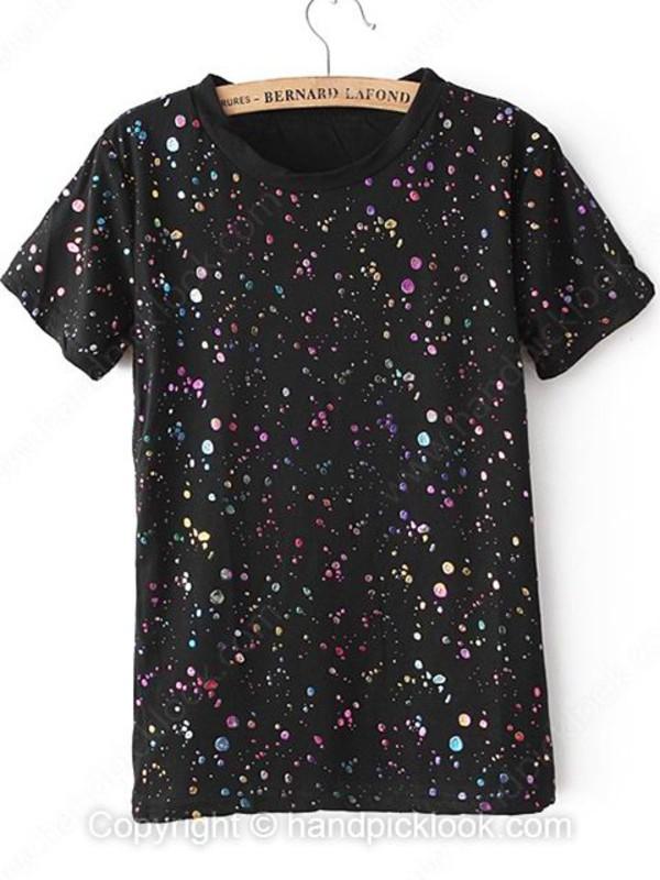 top black t-shirt sequin top punk t.o.p handpicklook.com short sleeve shirt simple tee