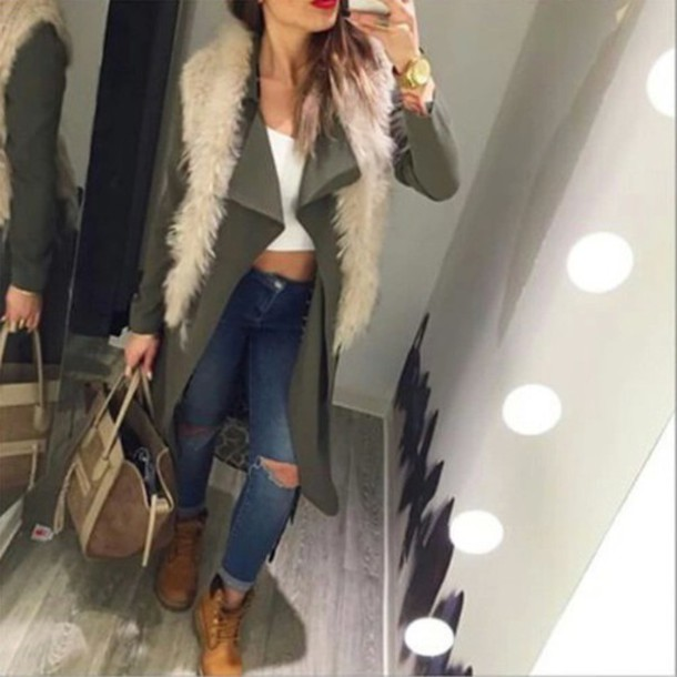 coat outfit green