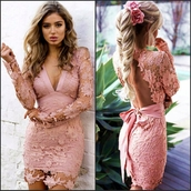 dress,pink,light pink,pink lace,pink crochet,lace dress,party dress,backless dress,mini dress,short dress,sexy dress,sexy party dresses,date dress,long sleeve dress,bodycon dress,nude dress,lace,crochet,spring,summer,tumbr,tumblr dress,moraki