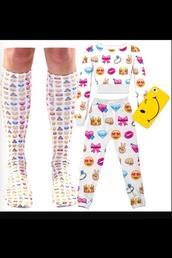 pants,emoji pants,emoji socks,emoji crop top