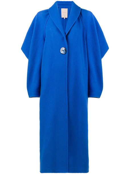 coat oversized women blue wool