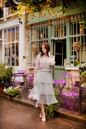 the bow-tie,blogger,shoes,skirt,tumblr,midi skirt,blue skirt,ruffle,ruffle skirt,sandals,sandal heels,high heel sandals,top,lace top,lilac,romantic