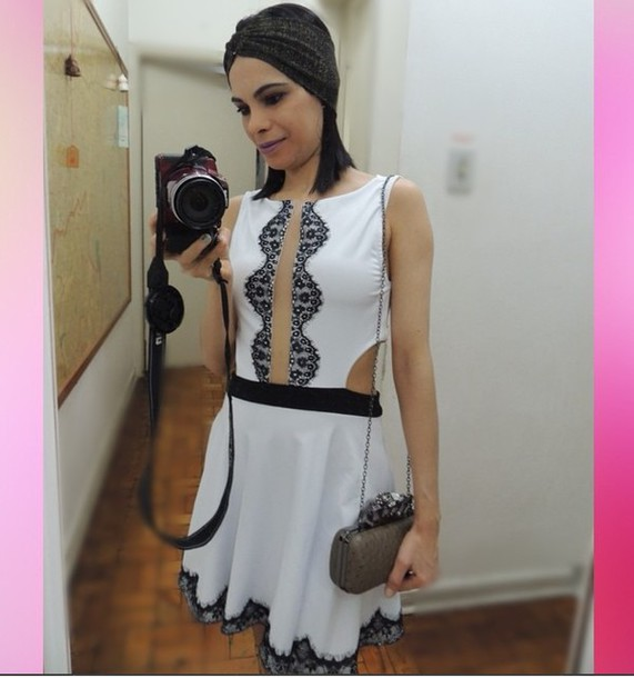 dress dress lace black white..
