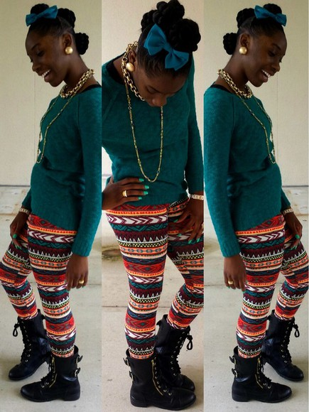 hair bow sweater combat boots aztec leggings