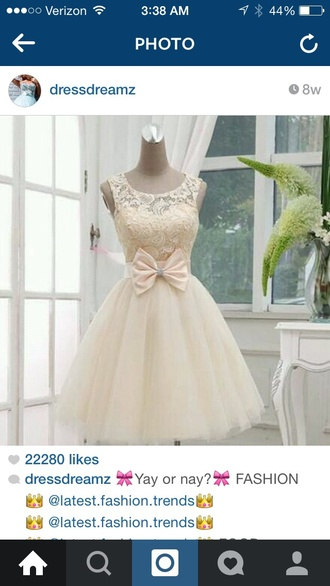 dress cream dress bow dress lace top