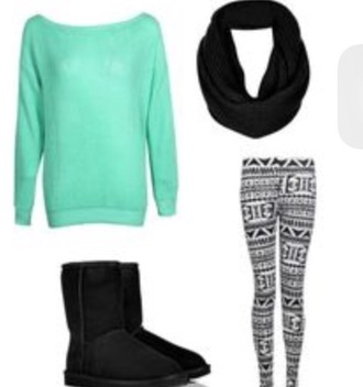 pants sweater uggs boots bailey bow brown scarf leggings