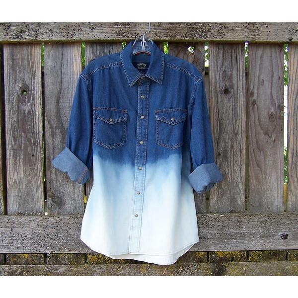 LEVIS denim shirt long sleeve Ombre bleached denim shirt jea... - Polyvore