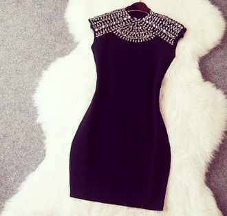 dress details diamond details little black dress