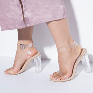 Women's Transparent Chunky Heel Sandals Open Toe Ankle Strap