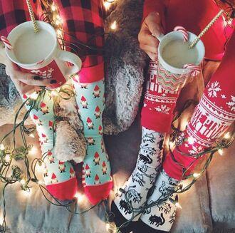 socks holiday season tumblr christmas pajamas cute socks nightwear cats christmas pajamas