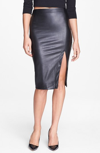 SLIT FAUX LEATHER PENCIL SKIRT | Nordstrom