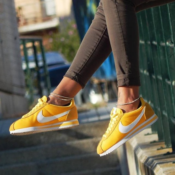 shoes yellow nike cortez