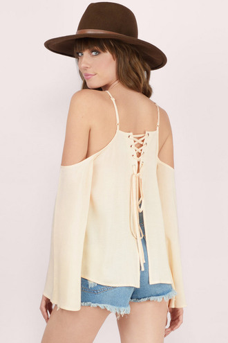 top lace up off the shoulder top