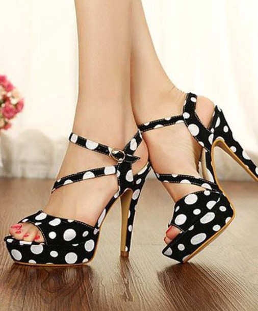 shoes polka dots high heels open toes